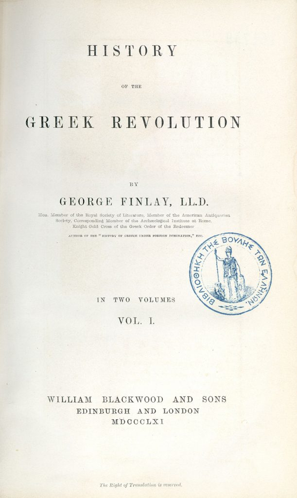 G. Finlay, History of the Greek Revolution