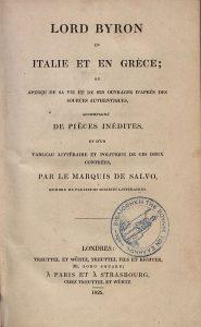 Marquis de Salvo, Byron en Italie et en Grèce